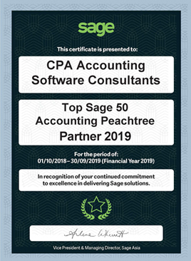 CPA Accounting Software Consultants is awarded by Sage Asia to be The Top Sage 50 Peachtree Partner in Hong Kong